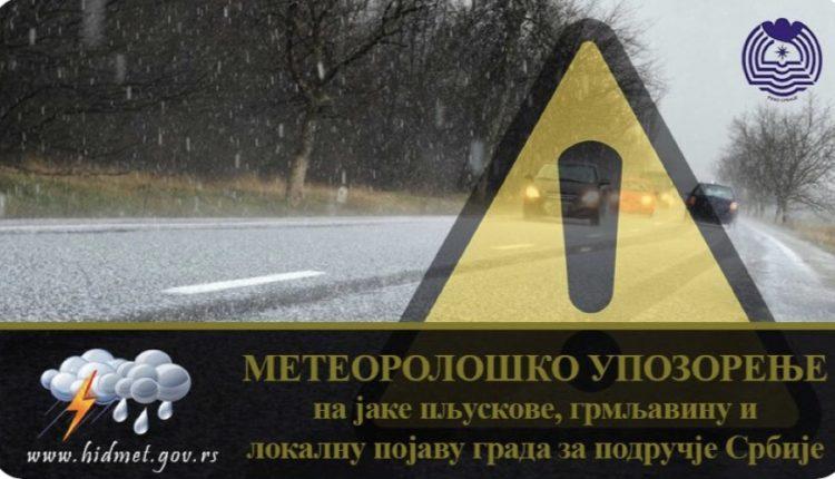 Važno upozorenje za celu Srbiju: Prete jaki pljuskovi, grmljavina i grad celog dana